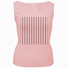 White and black lines Women s Pink Tank Top