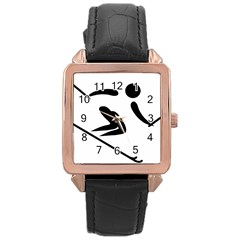 Archery Skiing Pictogram Rose Gold Leather Watch