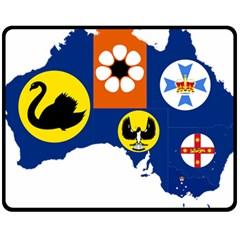 Flag Map Of States And Territories Of Australia Fleece Blanket (medium)