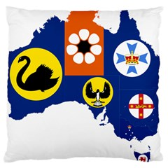 Flag Map Of States And Territories Of Australia Large Cushion Case (two Sides)
