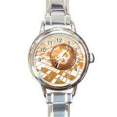 Network Bitcoin Currency Connection Round Italian Charm Watch