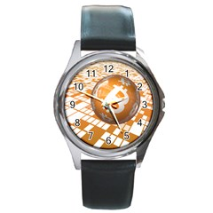 Network Bitcoin Currency Connection Round Metal Watch