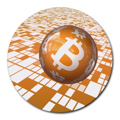 Network Bitcoin Currency Connection Round Mousepads