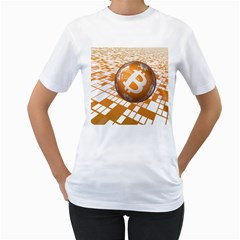 Network Bitcoin Currency Connection Women s T Shirt (white) (two Sided)