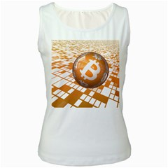Network Bitcoin Currency Connection Women s White Tank Top