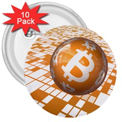 Network Bitcoin Currency Connection 3  Buttons (10 pack)