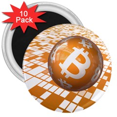 Network Bitcoin Currency Connection 3  Magnets (10 Pack)