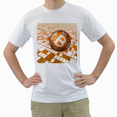Network Bitcoin Currency Connection Men s T-Shirt (White) (Two Sided)