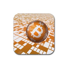 Network Bitcoin Currency Connection Rubber Coaster (Square)