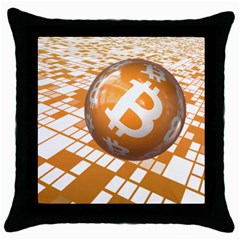 Network Bitcoin Currency Connection Throw Pillow Case (black)