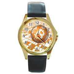 Network Bitcoin Currency Connection Round Gold Metal Watch