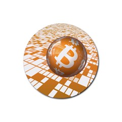 Network Bitcoin Currency Connection Rubber Round Coaster (4 Pack)