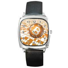 Network Bitcoin Currency Connection Square Metal Watch