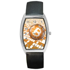 Network Bitcoin Currency Connection Barrel Style Metal Watch