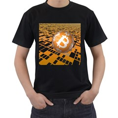 Network Bitcoin Currency Connection Men s T Shirt (black) (two Sided)