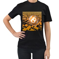 Network Bitcoin Currency Connection Women s T Shirt (black) (two Sided)