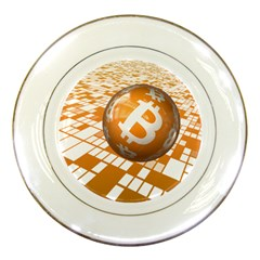 Network Bitcoin Currency Connection Porcelain Plates