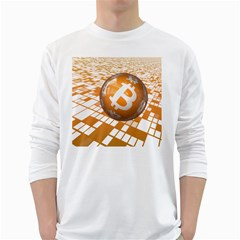Network Bitcoin Currency Connection White Long Sleeve T Shirts