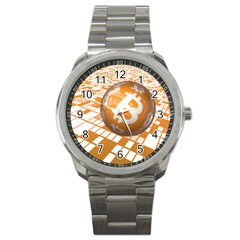 Network Bitcoin Currency Connection Sport Metal Watch
