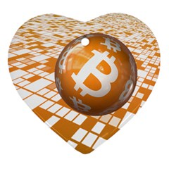 Network Bitcoin Currency Connection Heart Ornament (two Sides)