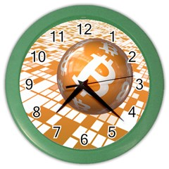 Network Bitcoin Currency Connection Color Wall Clocks