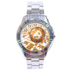 Network Bitcoin Currency Connection Stainless Steel Analogue Watch