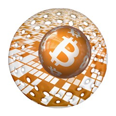 Network Bitcoin Currency Connection Round Filigree Ornament (two Sides)