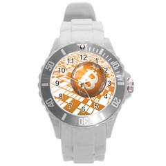 Network Bitcoin Currency Connection Round Plastic Sport Watch (l)