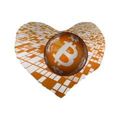 Network Bitcoin Currency Connection Standard 16  Premium Flano Heart Shape Cushions