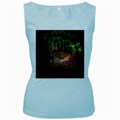 Radar Kaleidoscope Pattern Women s Baby Blue Tank Top