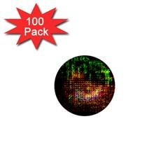 Radar Kaleidoscope Pattern 1  Mini Magnets (100 Pack)