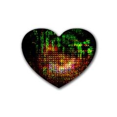 Radar Kaleidoscope Pattern Rubber Coaster (heart)