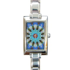 Pattern Blue Brown Background Rectangle Italian Charm Watch