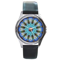 Pattern Blue Brown Background Round Metal Watch