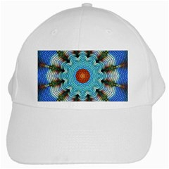 Pattern Blue Brown Background White Cap
