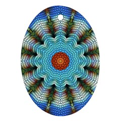 Pattern Blue Brown Background Ornament (oval)
