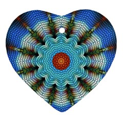 Pattern Blue Brown Background Ornament (heart)