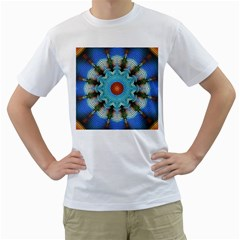 Pattern Blue Brown Background Men s T Shirt (white) (two Sided)