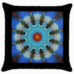 Pattern Blue Brown Background Throw Pillow Case (Black)