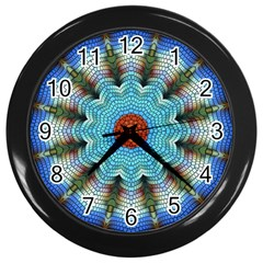 Pattern Blue Brown Background Wall Clocks (black)