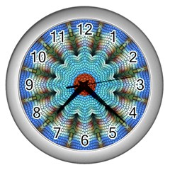 Pattern Blue Brown Background Wall Clocks (silver)