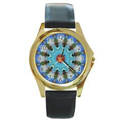 Pattern Blue Brown Background Round Gold Metal Watch
