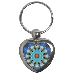 Pattern Blue Brown Background Key Chains (heart)