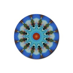 Pattern Blue Brown Background Rubber Round Coaster (4 pack)