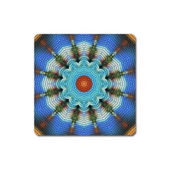 Pattern Blue Brown Background Square Magnet
