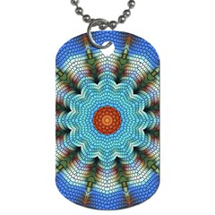 Pattern Blue Brown Background Dog Tag (one Side)