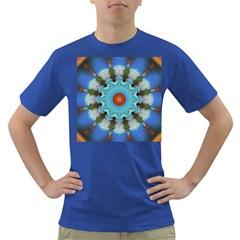 Pattern Blue Brown Background Dark T Shirt
