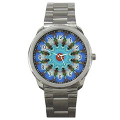 Pattern Blue Brown Background Sport Metal Watch