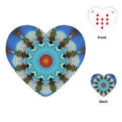 Pattern Blue Brown Background Playing Cards (heart)