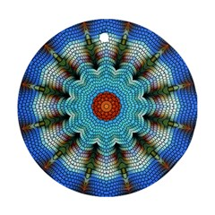 Pattern Blue Brown Background Round Ornament (two Sides)